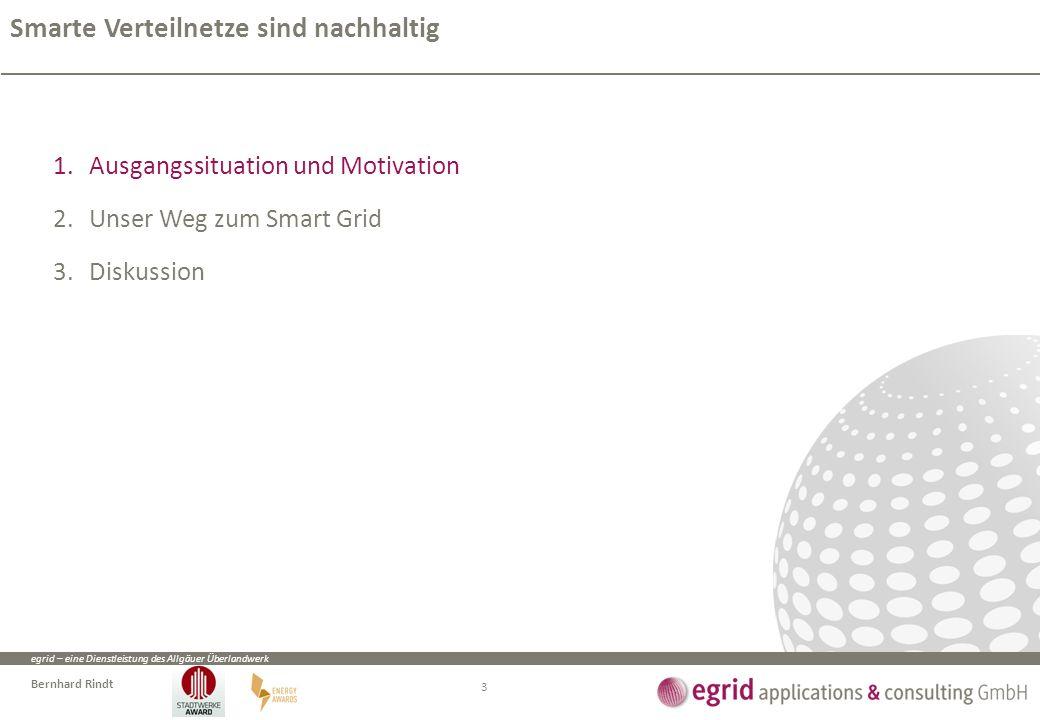egrid – eine Dienstleistung des Allgäuer Überlandwerk Bernhard Rindt 1.Ausgangssituation und Motivation 2.Unser Weg zum Smart Grid 3.Diskussion Smarte Verteilnetze sind nachhaltig 3