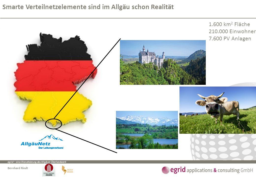 egrid – eine Dienstleistung des Allgäuer Überlandwerk Bernhard Rindt Smarte Verteilnetzelemente sind im Allgäu schon Realität 1.600 km 2 Fläche 210.000 Einwohner 7.600 PV Anlagen