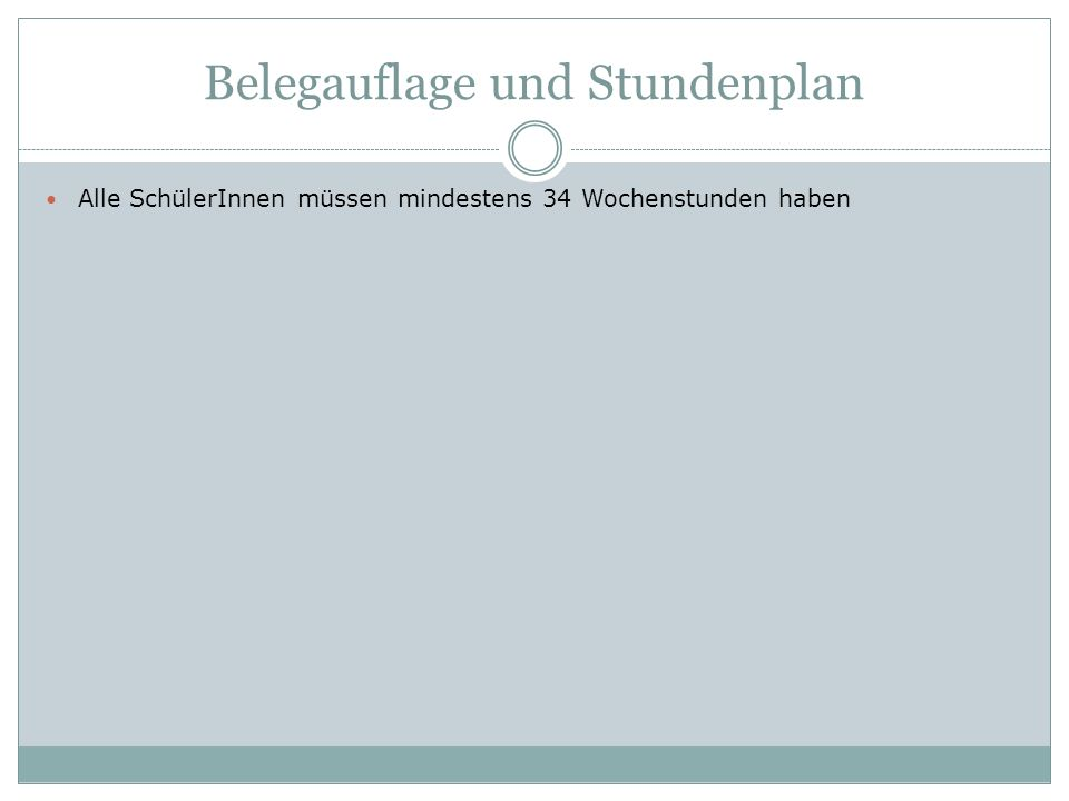 Belegauflagen (min.34 WS) 1.