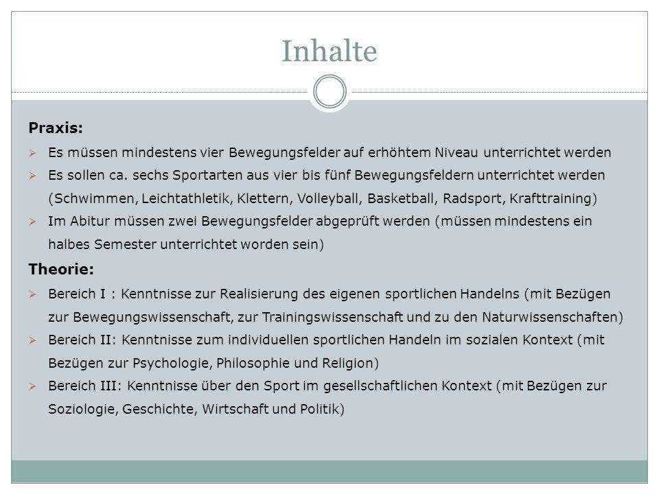 Inhalte Praxis:  Es müssen mindestens vier Bewegungsfelder auf erhöhtem Niveau unterrichtet werden  Es sollen ca. sechs Sportarten aus vier bis fünf