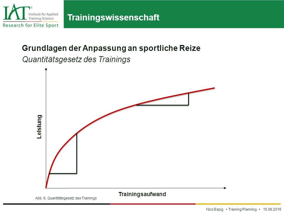 Trainingswissenschaft Nico Espig Training Planning 15.06.2016 Grundlagen der Anpassung an sportliche Reize Quantitätsgesetz des Trainings Abb.