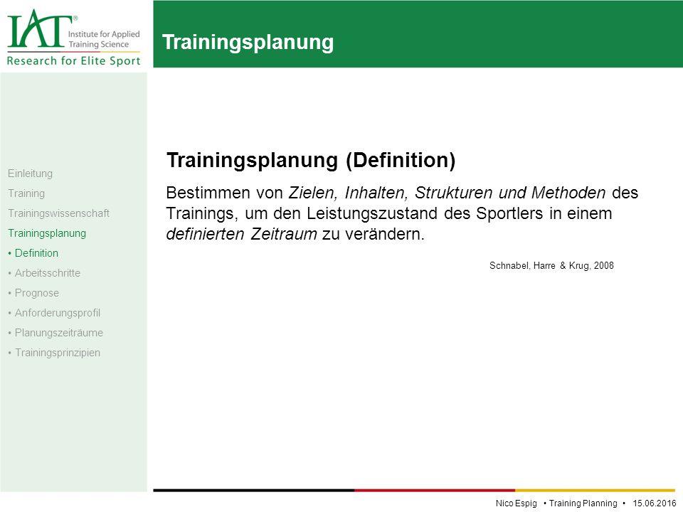 Trainingsplanung Trainingsplanung (Definition) Bestimmen von Zielen, Inhalten, Strukturen und Methoden des Trainings, um den Leistungszustand des Sportlers in einem definierten Zeitraum zu verändern.