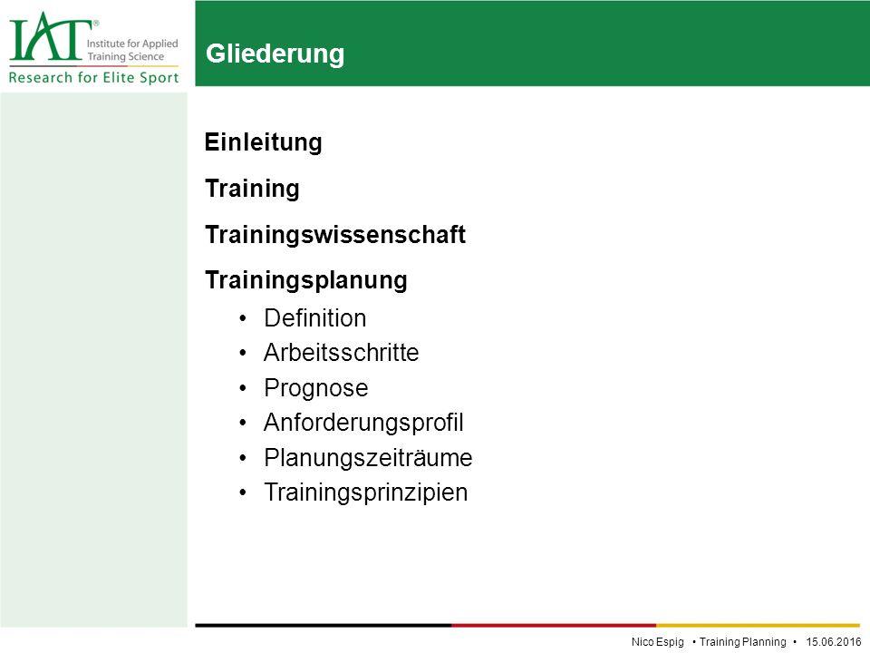 Einleitung Training Trainingswissenschaft Trainingsplanung Definition Arbeitsschritte Prognose Anforderungsprofil Planungszeiträume Trainingsprinzipien Gliederung Nico Espig Training Planning 15.06.2016