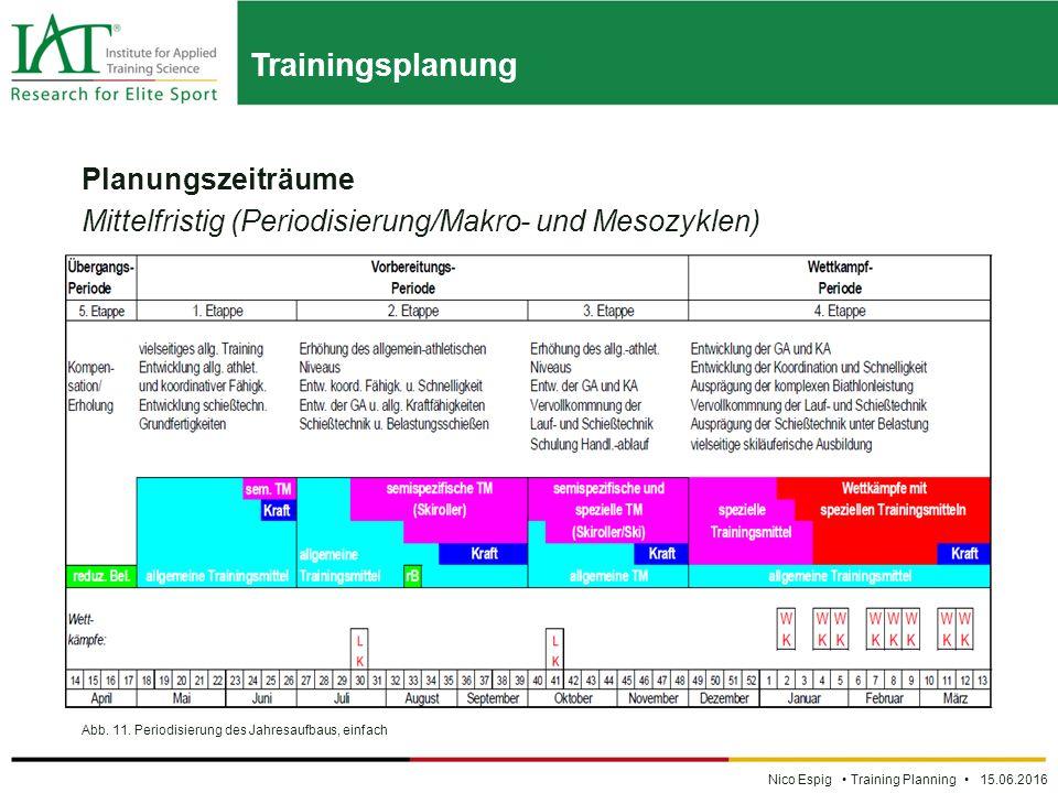 Trainingsplanung Nico Espig Training Planning 15.06.2016 Planungszeiträume Mittelfristig (Periodisierung/Makro- und Mesozyklen) Abb.
