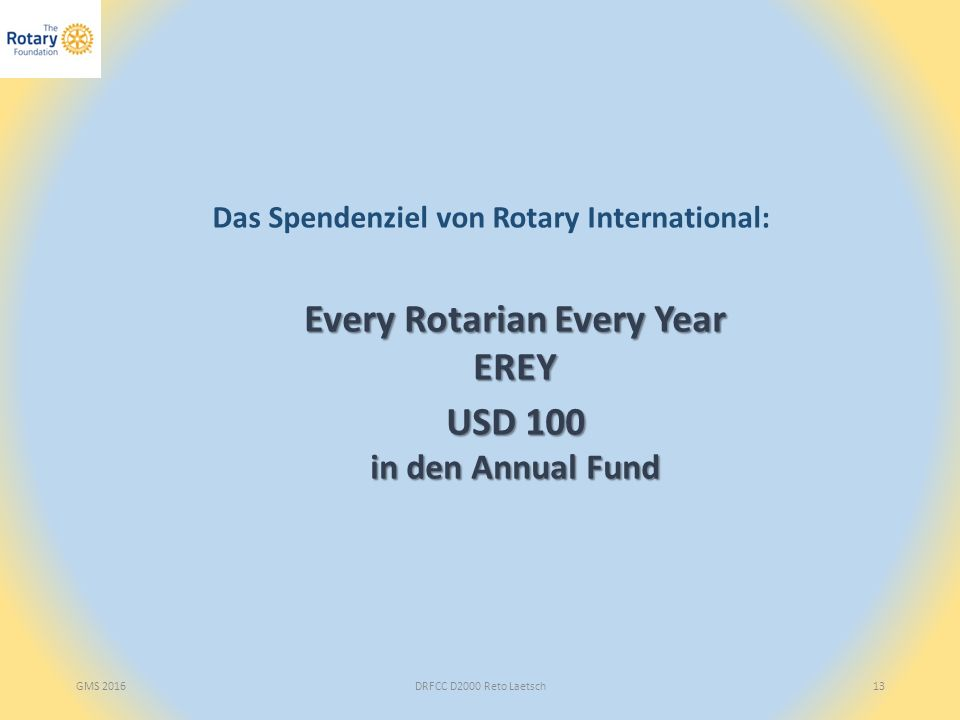 GMS 2016DRFCC D2000 Reto Laetsch13 Das Spendenziel von Rotary International: Every Rotarian Every Year EREY USD 100 in den Annual Fund