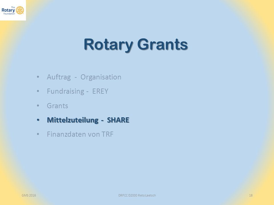 GMS 2016DRFCC D2000 Reto Laetsch18 Rotary Grants Auftrag - Organisation Fundraising - EREY Grants Mittelzuteilung - SHARE Mittelzuteilung - SHARE Finanzdaten von TRF