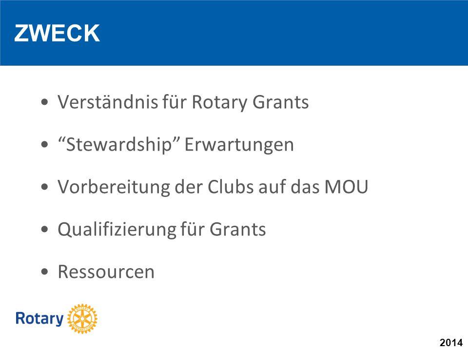 2014 Verständnis für Rotary Grants Stewardship Erwartungen Vorbereitung der Clubs auf das MOU Qualifizierung für Grants Ressourcen ZWECK