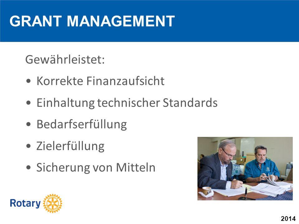2014 Gewährleistet: Korrekte Finanzaufsicht Einhaltung technischer Standards Bedarfserfüllung Zielerfüllung Sicherung von Mitteln GRANT MANAGEMENT