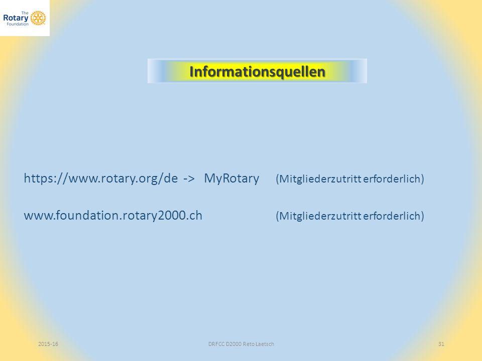 2015-16DRFCC D2000 Reto Laetsch31 Informationsquellen https://www.rotary.org/de -> MyRotary (Mitgliederzutritt erforderlich) www.foundation.rotary2000.ch (Mitgliederzutritt erforderlich)