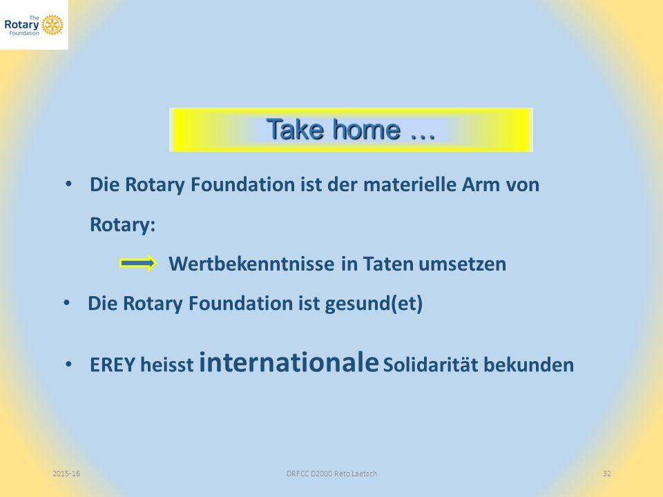 2015-16DRFCC D2000 Reto Laetsch32 Take home … Die Rotary Foundation ist der materielle Arm von Rotary: Wertbekenntnisse in Taten umsetzen EREY heisst internationale Solidarität bekunden Die Rotary Foundation ist gesund(et)