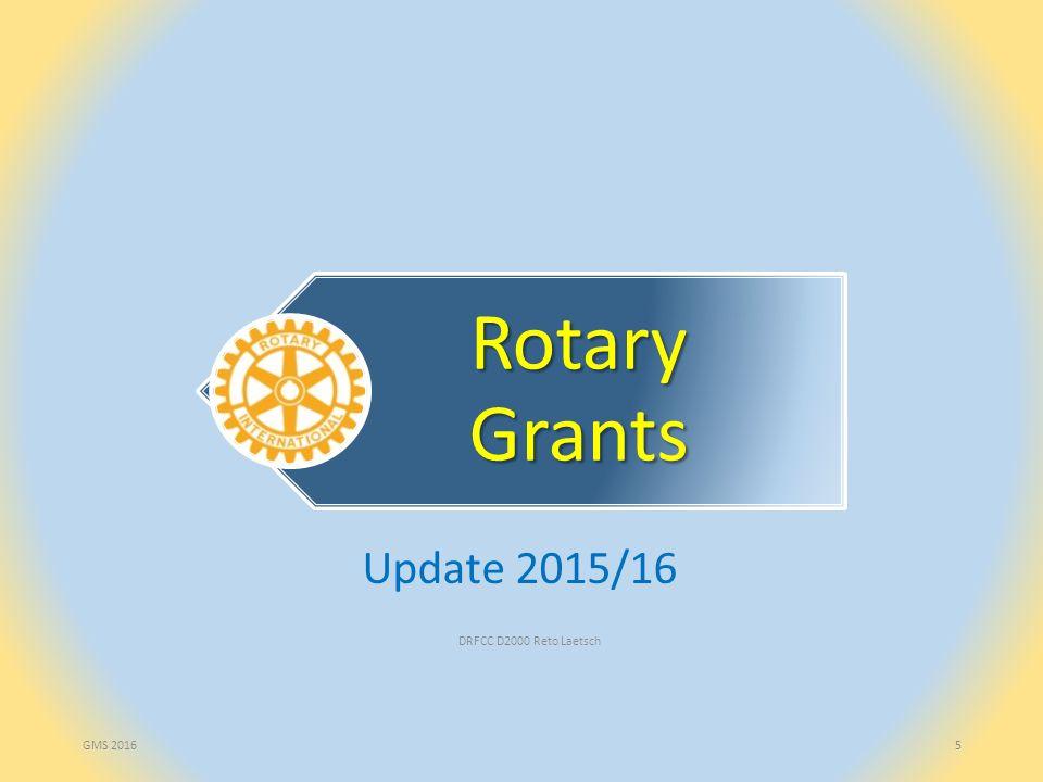DRFCC D2000 Reto Laetsch16 Global Grants Entscheidungskompetenz: Rotary Foundation Antrag durch Club(s) oder Distrikt(e), jederzeit, elektronisch an TRF (zuverlässiger) Host-Partner erforderlich Projektbudget mindestens USD 30'000 Finanzierung: Barbeiträge + DDF-Mittel + Bezuschussung durch World-Fund («match») (50% bzw.