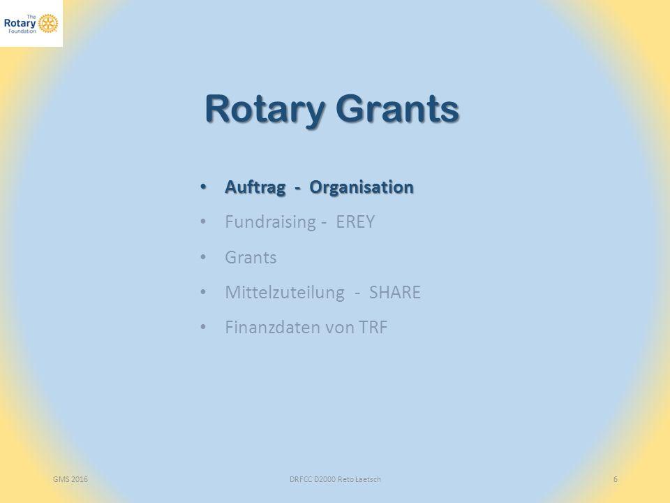 GMS 2016DRFCC D2000 Reto Laetsch6 Rotary Grants Auftrag - Organisation Auftrag - Organisation Fundraising - EREY Grants Mittelzuteilung - SHARE Finanzdaten von TRF