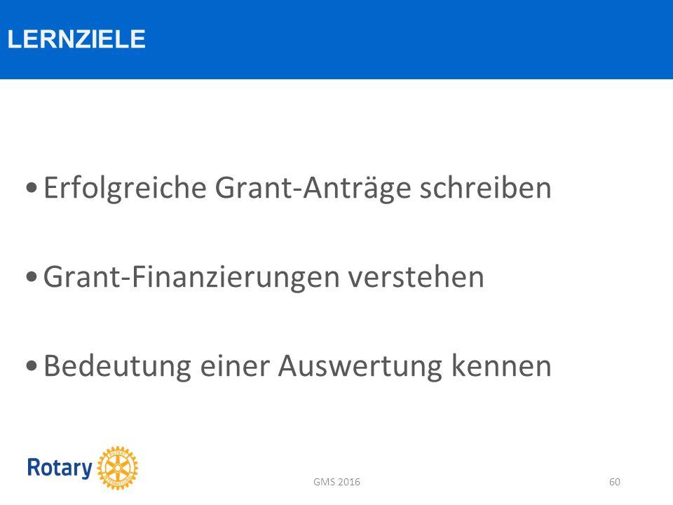 Erfolgreiche Grant-Anträge schreiben Grant-Finanzierungen verstehen Bedeutung einer Auswertung kennen LERNZIELE GMS 201660