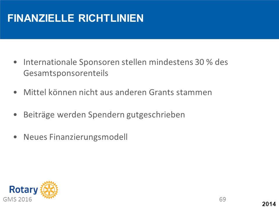 2014 Internationale Sponsoren stellen mindestens 30 % des Gesamtsponsorenteils Mittel können nicht aus anderen Grants stammen Beiträge werden Spendern gutgeschrieben Neues Finanzierungsmodell FINANZIELLE RICHTLINIEN GMS 201669