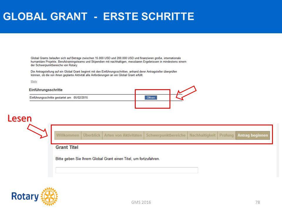 GLOBAL GRANT - ERSTE SCHRITTE GMS 201678 Lesen