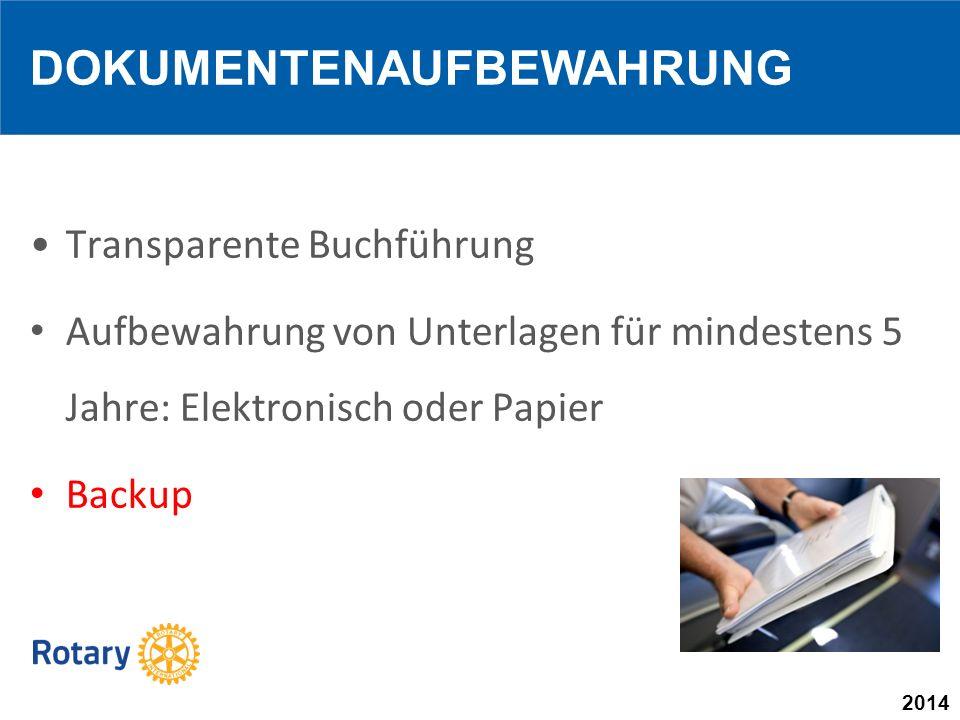 2014 Transparente Buchführung Aufbewahrung von Unterlagen für mindestens 5 Jahre: Elektronisch oder Papier Backup DOKUMENTENAUFBEWAHRUNG