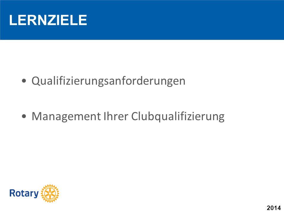 2014 Qualifizierungsanforderungen Management Ihrer Clubqualifizierung LERNZIELE