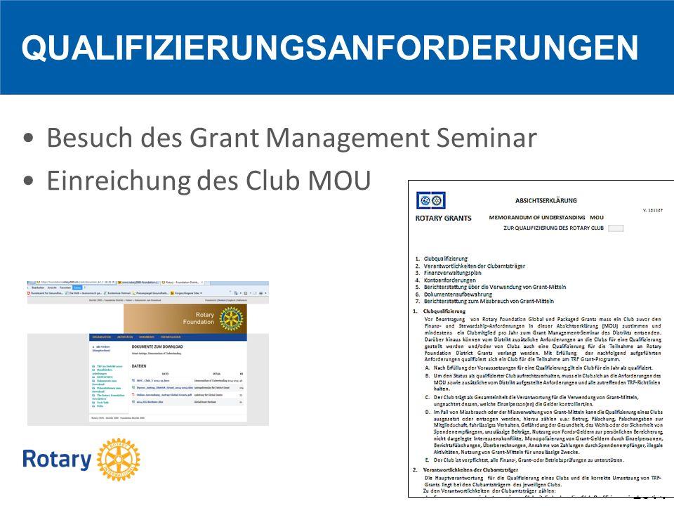 2014 Besuch des Grant Management Seminar Einreichung des Club MOU QUALIFIZIERUNGSANFORDERUNGEN