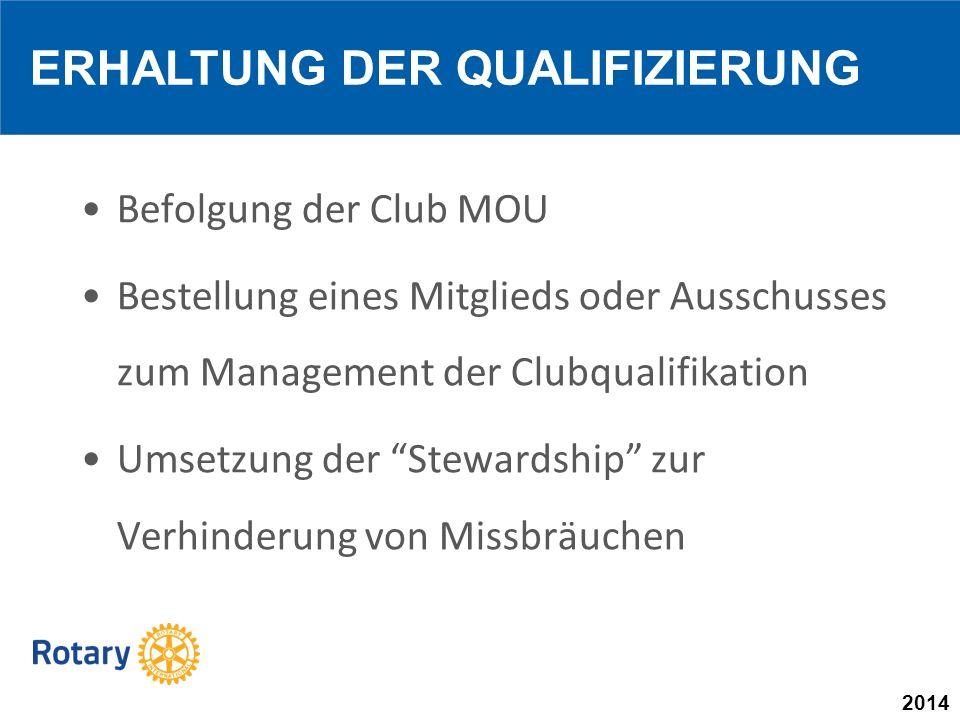 2014 Befolgung der Club MOU Bestellung eines Mitglieds oder Ausschusses zum Management der Clubqualifikation Umsetzung der Stewardship zur Verhinderung von Missbräuchen ERHALTUNG DER QUALIFIZIERUNG