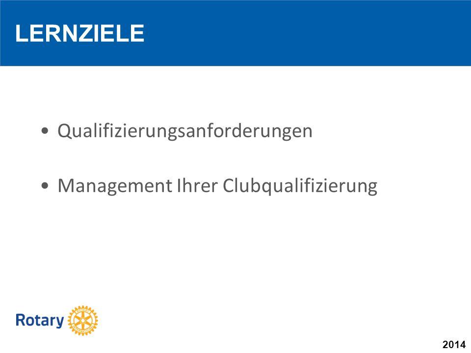 2014 LERNZIELE Qualifizierungsanforderungen Management Ihrer Clubqualifizierung