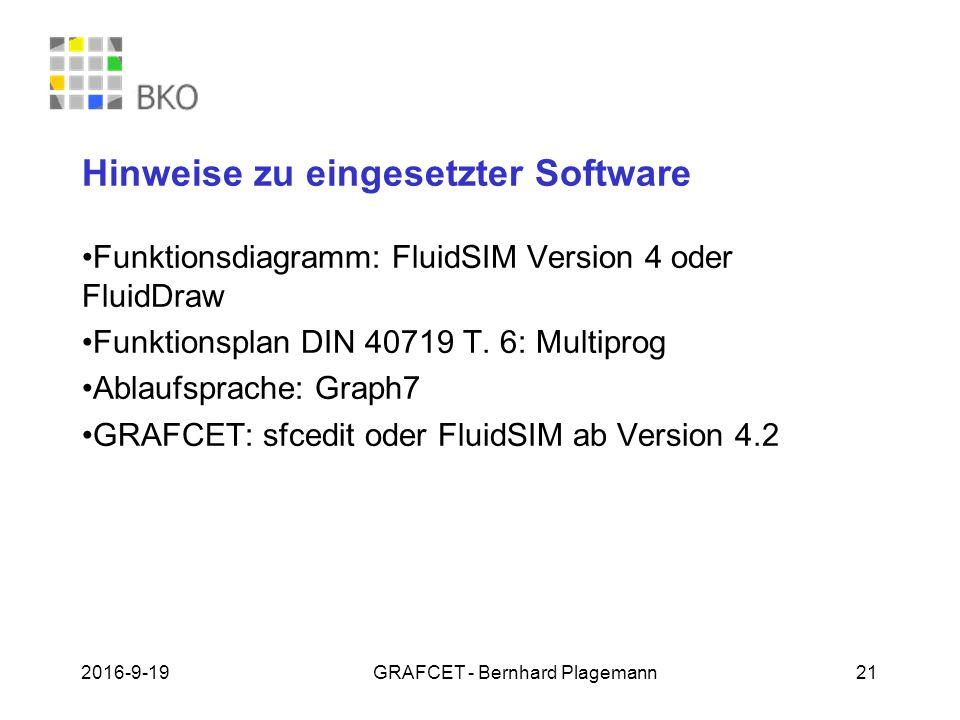 19.09.2016GRAFCET - Bernhard Plagemann 21 Hinweise zu eingesetzter Software Funktionsdiagramm: FluidSIM Version 4 oder FluidDraw Funktionsplan DIN 40719 T.