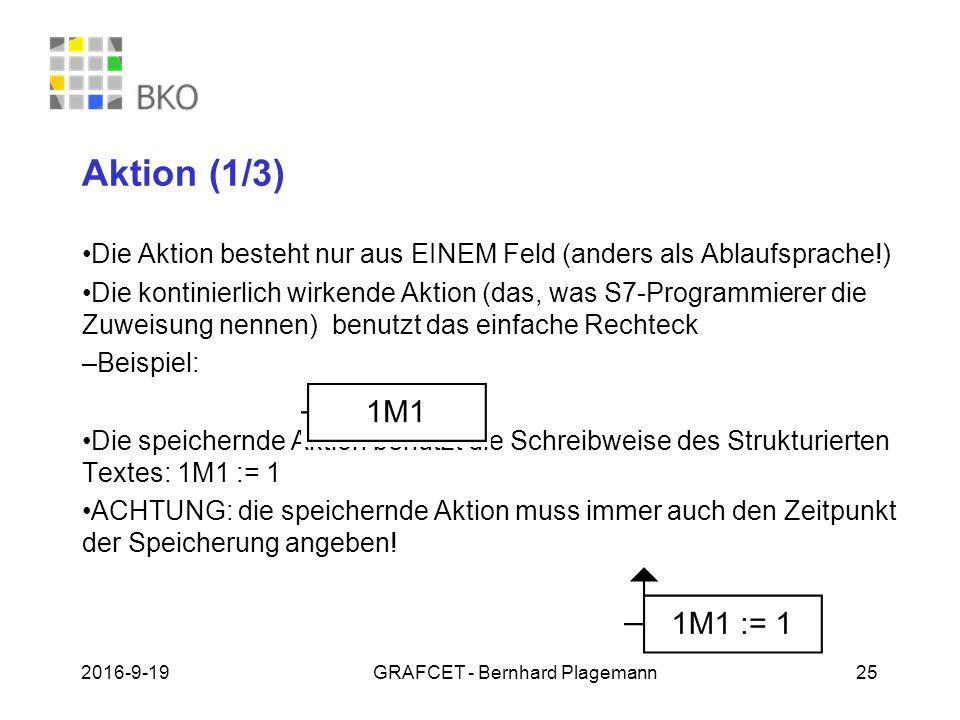 19.09.2016GRAFCET - Bernhard Plagemann 25 Aktion (1/3) Die Aktion besteht nur aus EINEM Feld (anders als Ablaufsprache!) Die kontinierlich wirkende Aktion (das, was S7-Programmierer die Zuweisung nennen) benutzt das einfache Rechteck – Beispiel: Die speichernde Aktion benutzt die Schreibweise des Strukturierten Textes: 1M1 := 1 ACHTUNG: die speichernde Aktion muss immer auch den Zeitpunkt der Speicherung angeben!