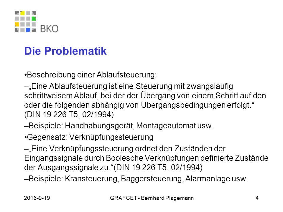 """19.09.2016GRAFCET - Bernhard Plagemann 4 Die Problematik Beschreibung einer Ablaufsteuerung: – """"Eine Ablaufsteuerung ist eine Steuerung mit zwangsläuf"""