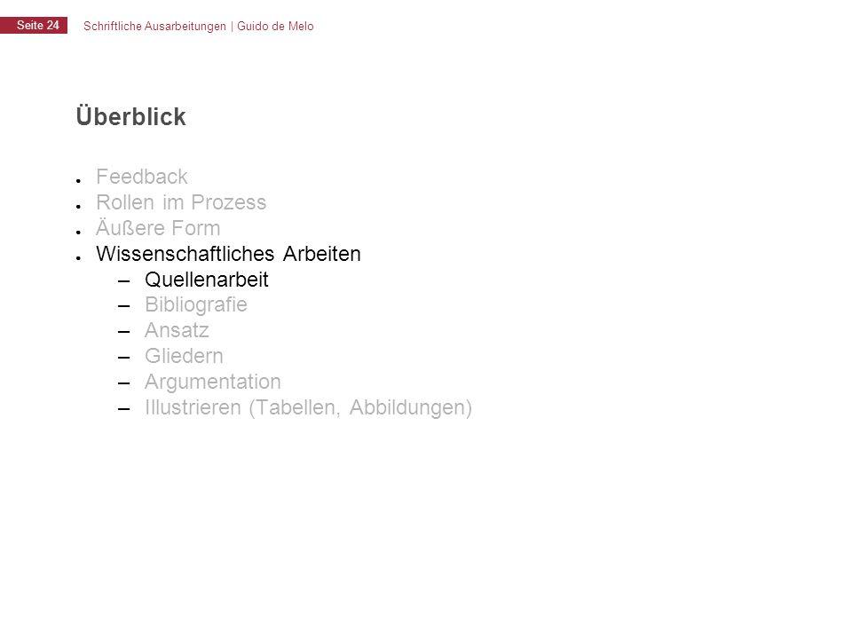Schriftliche Ausarbeitungen | Guido de Melo Seite 24 Überblick ● Feedback ● Rollen im Prozess ● Äußere Form ● Wissenschaftliches Arbeiten – Quellenarb