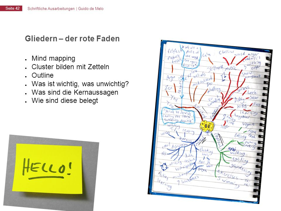 Schriftliche Ausarbeitungen | Guido de Melo Seite 42 Gliedern – der rote Faden ● Mind mapping ● Cluster bilden mit Zetteln ● Outline ● Was ist wichtig