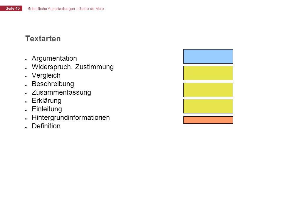 Schriftliche Ausarbeitungen | Guido de Melo Seite 45 Textarten ● Argumentation ● Widerspruch, Zustimmung ● Vergleich ● Beschreibung ● Zusammenfassung
