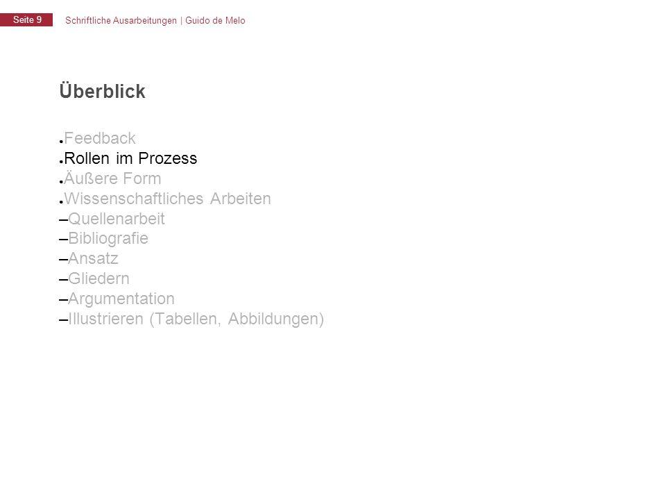 Schriftliche Ausarbeitungen | Guido de Melo Seite 9 Überblick ● Feedback ● Rollen im Prozess ● Äußere Form ● Wissenschaftliches Arbeiten – Quellenarbe