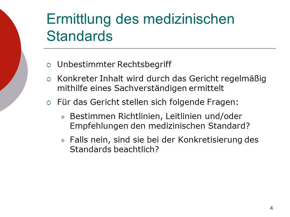 Ermittlung des medizinischen Standards  Unbestimmter Rechtsbegriff  Konkreter Inhalt wird durch das Gericht regelmäßig mithilfe eines Sachverständigen ermittelt  Für das Gericht stellen sich folgende Fragen: Bestimmen Richtlinien, Leitlinien und/oder Empfehlungen den medizinischen Standard.
