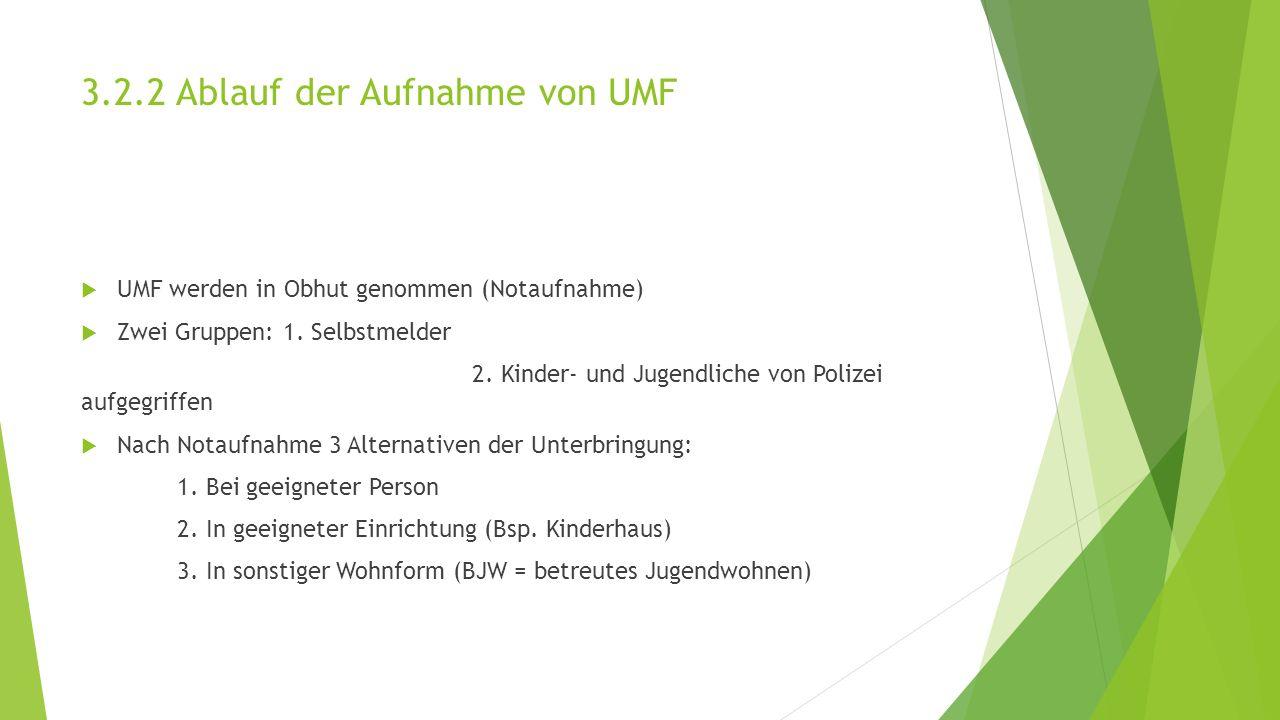 3.2.2 Ablauf der Aufnahme von UMF  UMF werden in Obhut genommen (Notaufnahme)  Zwei Gruppen: 1.