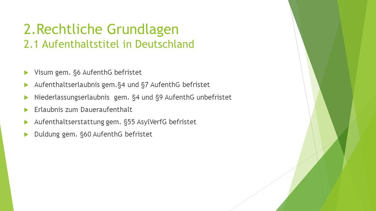 2.Rechtliche Grundlagen 2.1 Aufenthaltstitel in Deutschland  Visum gem.