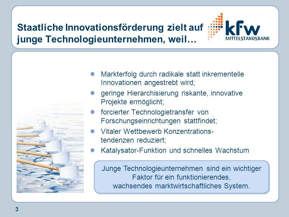 3 Staatliche Innovationsförderung zielt auf junge Technologieunternehmen, weil… Markterfolg durch radikale statt inkrementelle Innovationen angestrebt