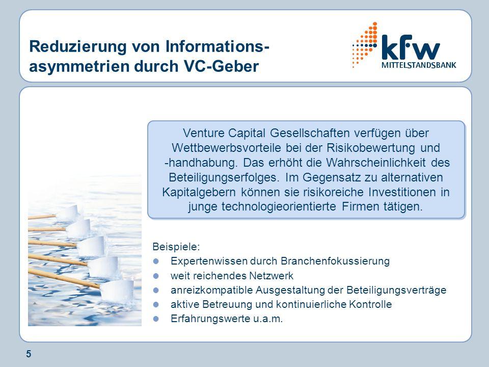 5 Reduzierung von Informations- asymmetrien durch VC-Geber Venture Capital Gesellschaften verfügen über Wettbewerbsvorteile bei der Risikobewertung und -handhabung.