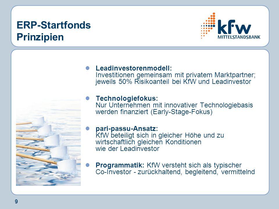 9 ERP-Startfonds Prinzipien Leadinvestorenmodell: Investitionen gemeinsam mit privatem Marktpartner; jeweils 50% Risikoanteil bei KfW und Leadinvestor
