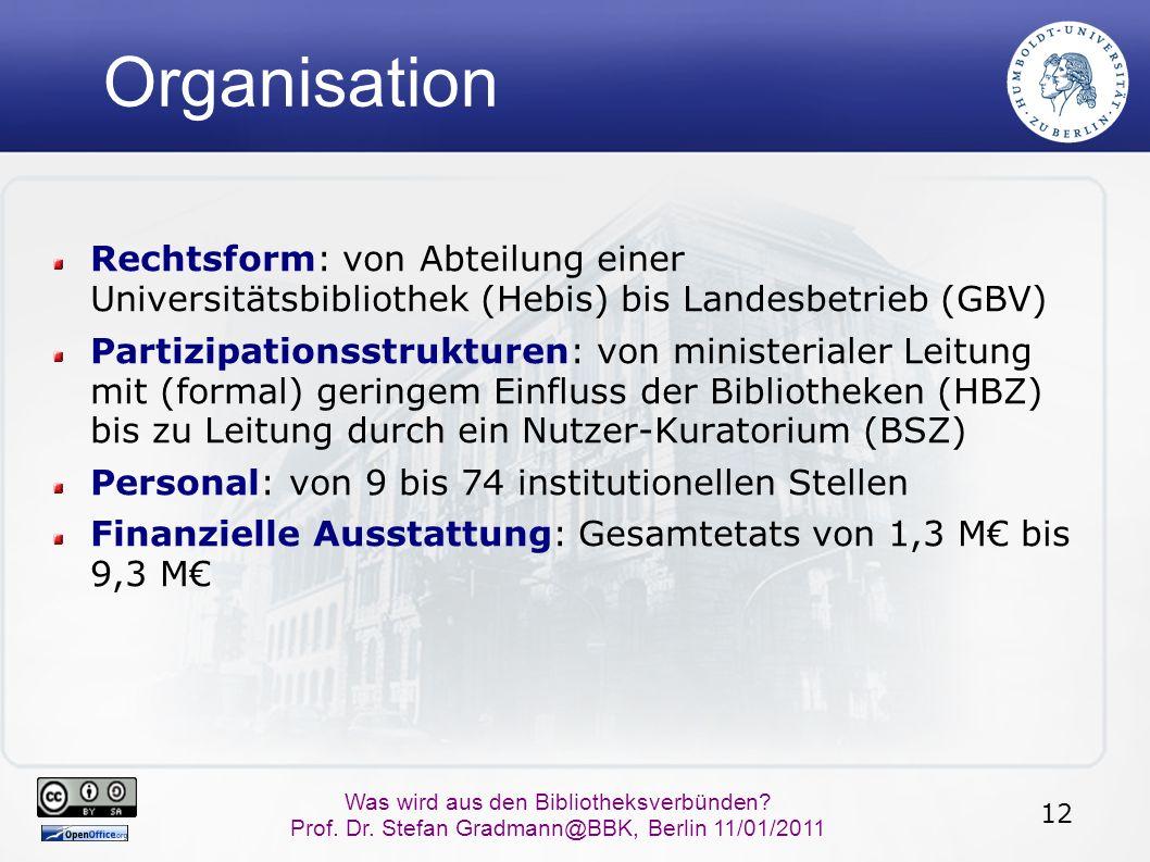 12 Was wird aus den Bibliotheksverbünden? Prof. Dr. Stefan Gradmann@BBK, Berlin 11/01/2011 Organisation Rechtsform: von Abteilung einer Universitätsbi