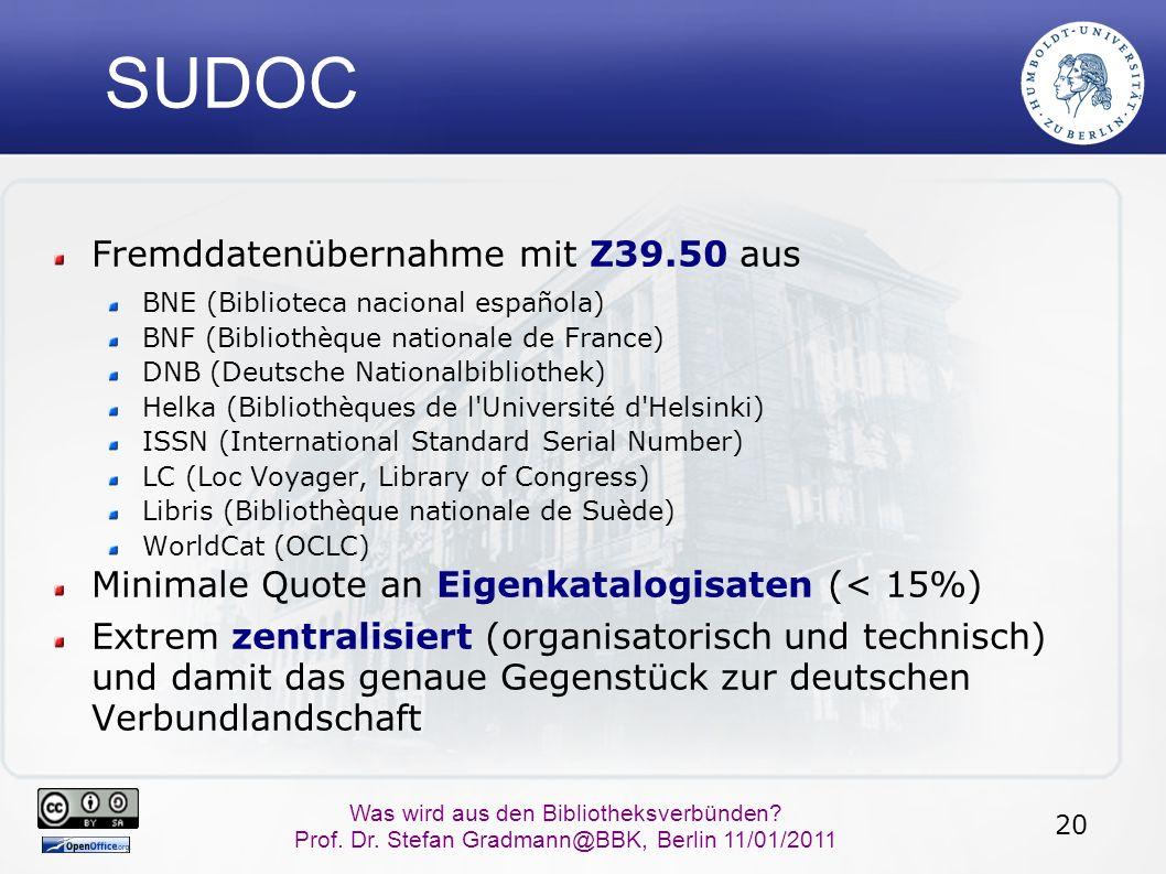 20 Was wird aus den Bibliotheksverbünden? Prof. Dr. Stefan Gradmann@BBK, Berlin 11/01/2011 SUDOC Fremddatenübernahme mit Z39.50 aus BNE (Biblioteca na