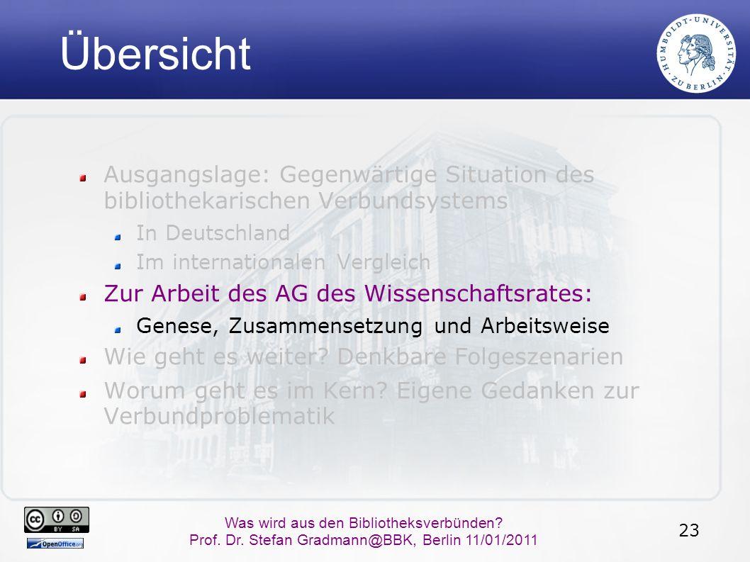 23 Was wird aus den Bibliotheksverbünden? Prof. Dr. Stefan Gradmann@BBK, Berlin 11/01/2011 Übersicht Ausgangslage: Gegenwärtige Situation des biblioth