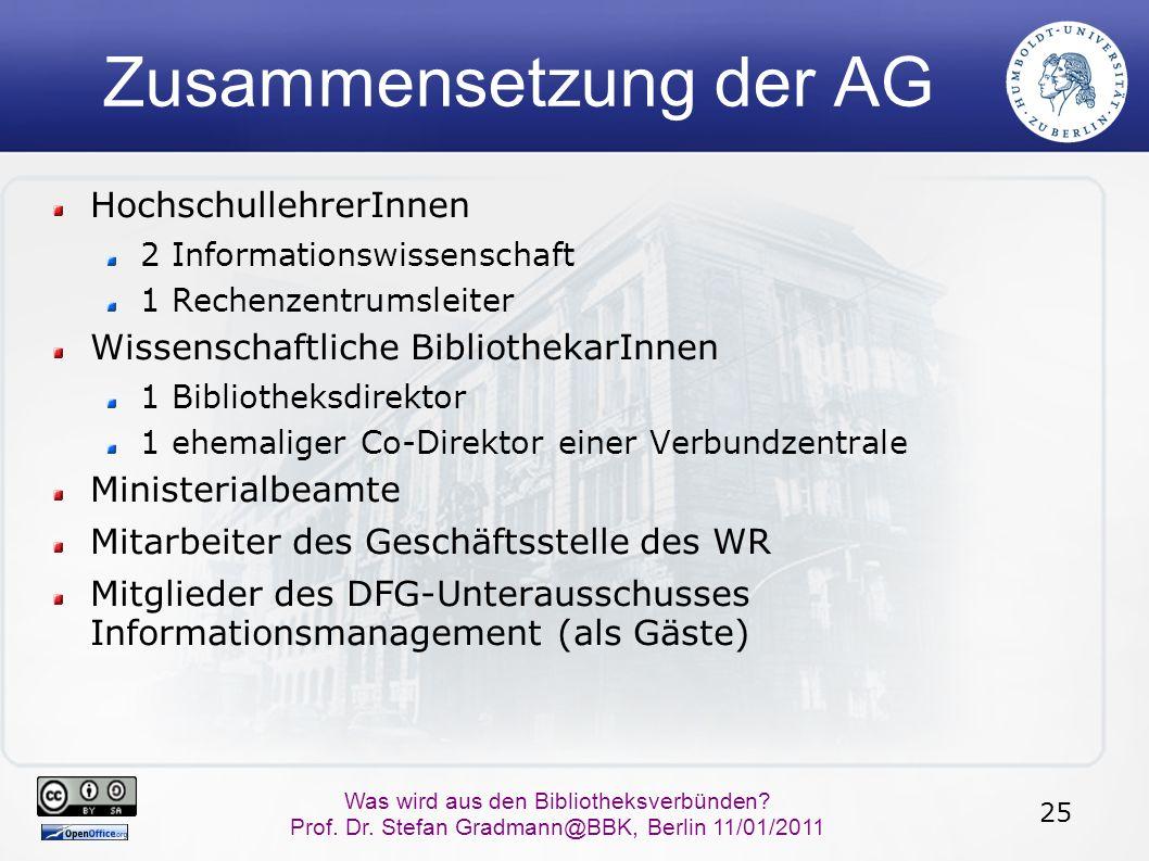 25 Was wird aus den Bibliotheksverbünden? Prof. Dr. Stefan Gradmann@BBK, Berlin 11/01/2011 Zusammensetzung der AG HochschullehrerInnen 2 Informationsw