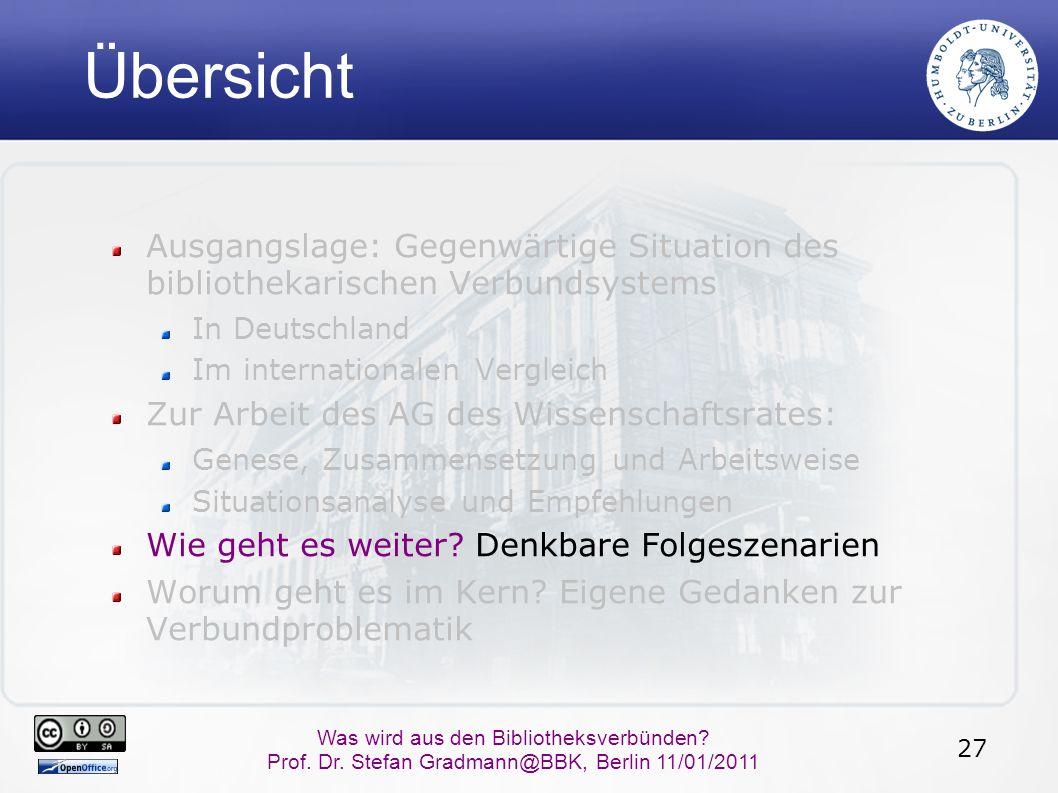 27 Was wird aus den Bibliotheksverbünden? Prof. Dr. Stefan Gradmann@BBK, Berlin 11/01/2011 Übersicht Ausgangslage: Gegenwärtige Situation des biblioth