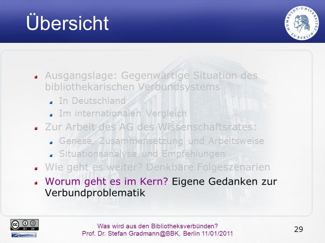 29 Was wird aus den Bibliotheksverbünden? Prof. Dr. Stefan Gradmann@BBK, Berlin 11/01/2011 Übersicht Ausgangslage: Gegenwärtige Situation des biblioth