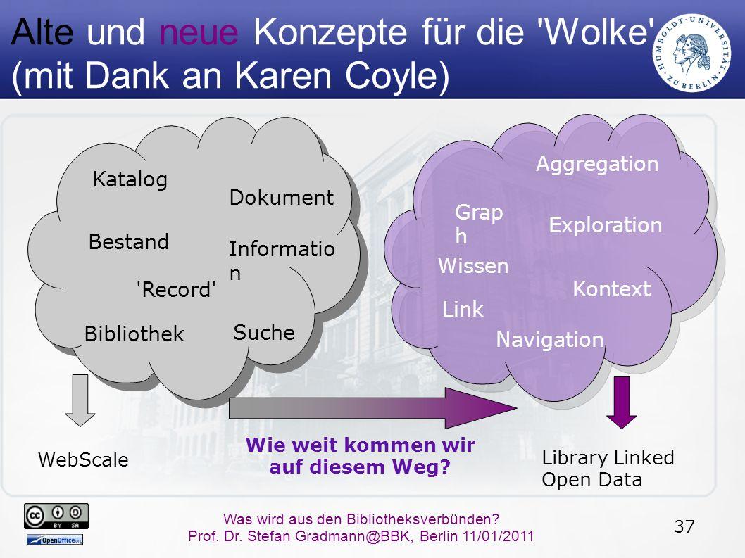 37 Was wird aus den Bibliotheksverbünden? Prof. Dr. Stefan Gradmann@BBK, Berlin 11/01/2011 Alte und neue Konzepte für die 'Wolke' (mit Dank an Karen C