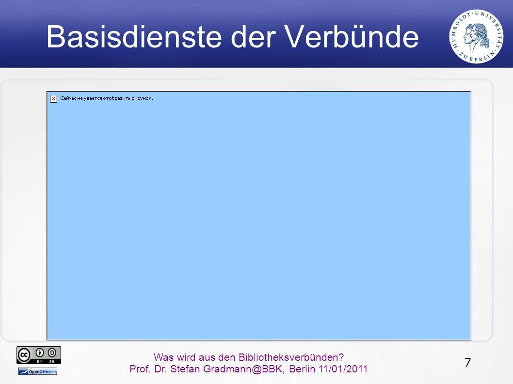 7 Was wird aus den Bibliotheksverbünden? Prof. Dr. Stefan Gradmann@BBK, Berlin 11/01/2011 Basisdienste der Verbünde