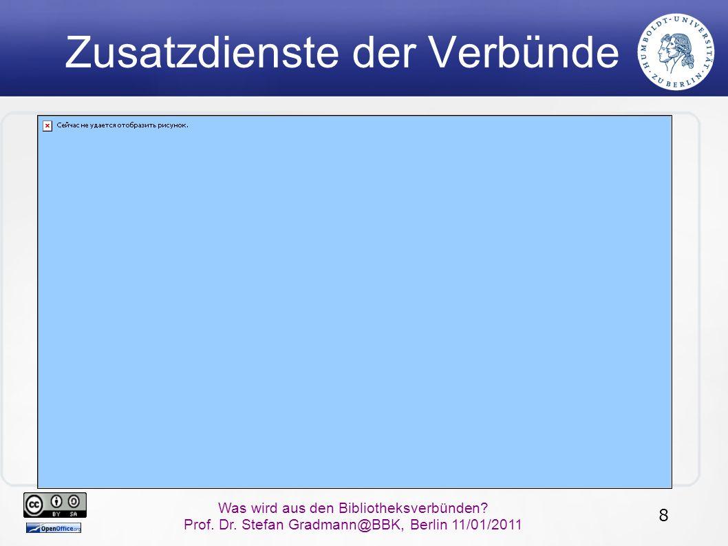 8 Was wird aus den Bibliotheksverbünden? Prof. Dr. Stefan Gradmann@BBK, Berlin 11/01/2011 Zusatzdienste der Verbünde