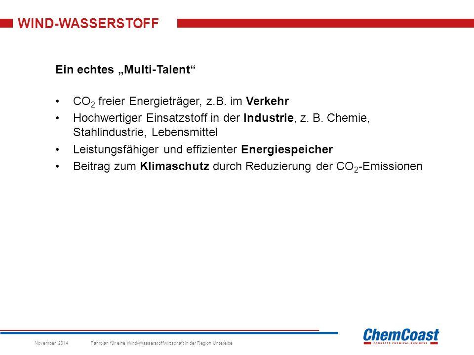 """WIND-WASSERSTOFF Ein echtes """"Multi-Talent CO 2 freier Energieträger, z.B."""
