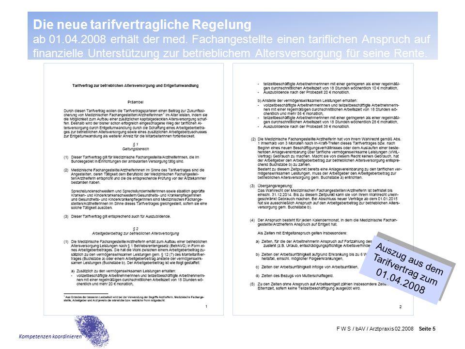 F W S / bAV / Arztpraxis 02.2008 Seite 6 Kompetenzen koordinieren Warum Betriebliche Altersversorgung.