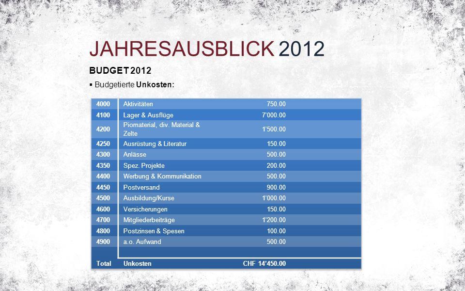 JAHRESAUSBLICK 2012 BUDGET 2012  Budgetierte Unkosten: