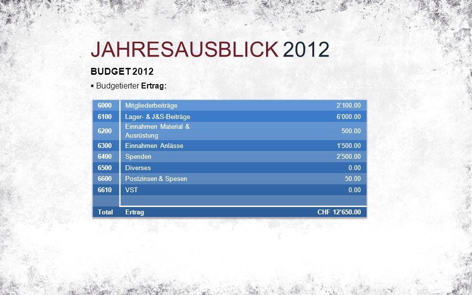 JAHRESAUSBLICK 2012 BUDGET 2012  Budgetierter Ertrag: